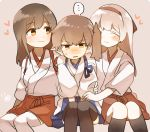 ... 3girls :3 akagi_(kantai_collection) black_legwear blue_ribbon brown_hair chocolate_hair eyes_closed grey_hair hairband heart ina_(1813576) japanese_clothes kaga_(kantai_collection) kantai_collection long_hair multiple_girls open_mouth red_hairband red_ribbon ribbon short_sleeves shoukaku_(kantai_collection) side_ponytail sitting spoken_ellipsis sweat thighhighs white_legwear yuri