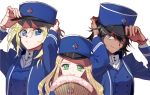 3girls adjusting_clothes adjusting_hat andou_(girls_und_panzer) bangs bc_freedom_(emblem) bc_freedom_military_uniform black_hair blonde_hair blue_eyes blue_hat blue_jacket blue_vest brown_eyes closed_mouth commentary_request dark_skin dress_shirt emblem eyebrows_visible_through_hair fan folding_fan frown girls_und_panzer green_eyes hat high_collar holding jacket long_hair long_sleeves looking_at_viewer marie_(girls_und_panzer) medium_hair military military_hat military_uniform multiple_girls oshida_(girls_und_panzer) portrait shako_cap shirt shutou_mq simple_background smile standing uniform vest white_background white_shirt