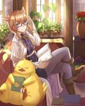 androgynous animal_ears blue_eyes book braid brown_footwear chocobo couch final_fantasy final_fantasy_xiv glasses hand_up highres holding holding_book inside legs_crossed looking_at_viewer miqo'te ojiki open_book plant potted_plant saliva sitting smile solo tail whisker_markings window