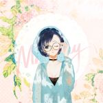 1girl adjusting_eyewear bangs bishoujo_senshi_sailor_moon black_choker blue_eyes blue_hair breasts choker cleavage glasses hand_up head_tilt hood hood_up mizuno_ami one_eye_closed parted_lips raincoat round_eyewear sailor_mercury say_hana short_hair solo upper_body