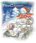 1girl bag blue_hair box christmas gift gift_box ground_vehicle highres merry_christmas military military_vehicle mimit motor_vehicle nib_pen_(medium) original red_eyes santa_costume short_hair snow snowing star t-18 tank traditional_media tree