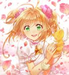 1girl artist_name blurry brown_hair card_captor_sakura choker depth_of_field dress green_eyes kero kinomoto_sakura one_eye_closed open_mouth petals puffy_short_sleeves puffy_sleeves short_sleeves short_twintails smile tamaru twintails