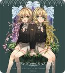 2girls :d alternate_hair_color antenna_hair aqua_eyes artist_name bangs blonde_hair brown_hair card_captor_sakura character_name closed_mouth flower grass green_eyes kinomoto_sakura kneehighs long_sleeves multiple_girls necktie neva_(n_e_v_a) open_mouth school_uniform shinomoto_akiho short_hair sitting skirt smile wheat white_legwear white_neckwear white_skirt