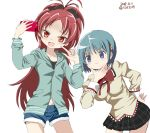 2girls :3 black_bow blue_eyes blue_hair blue_shorts blush bow cellphone chin_stroking dated fang hair_bow hair_ornament hairclip holding holding_phone hood hoodie juuyon leaning_forward long_hair long_sleeves looking_at_phone mahou_shoujo_madoka_magica miki_sayaka miniskirt multiple_girls navel open_mouth phone pleated_skirt ponytail red_bow red_eyes red_hair sakura_kyouko school_uniform short_hair shorts simple_background skirt smartphone very_long_hair white_background