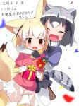 2girls :d ^_^ animal_ears arm_around_neck black_gloves black_hair black_neckwear black_skirt blonde_hair blurry blush bow bowtie box brown_eyes common_raccoon_(kemono_friends) confetti dated depth_of_field eyebrows_visible_through_hair eyes_closed fang fennec_(kemono_friends) fox_ears fox_tail fur_collar gift gift_box gloves grey_hair happy_birthday highres holding holding_gift hug hug_from_behind kemono_friends looking_at_viewer makuran miniskirt multicolored_hair multiple_girls open_mouth pantyhose party_popper pink_sweater pleated_skirt raccoon_ears raccoon_tail short_sleeves simple_background skirt smile sweater tail thighhighs white_background white_gloves white_hair white_legwear yellow_legwear yellow_neckwear zettai_ryouiki