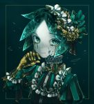 absurdres alternate_costume androgynous crack golden_arms gothic_lolita green_eyes green_hair hairband highres houseki_no_kuni lolita_fashion lolita_hairband phosphophyllite short_hair solo tears upper_body