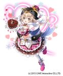 1girl 2015 :d argyle argyle_legwear argyle_shirt argyle_skirt bangs black_hat blonde_hair blue_ribbon blueberry blush bow bowtie breasts brown_skirt cake checkerboard_cookie cherry chocolate chocolate_bar chocolate_cake chocolate_on_face company_name cookie copen_(gothic_wa_mahou_otome) crop_top dessert doily emia_(castilla) eyebrows_visible_through_hair food food_on_face fruit full_body gloves gothic_wa_mahou_otome green_eyes hair_between_eyes hair_ornament happy hat hat_ribbon heart heart-shaped_cake heart_background heart_hair_ornament high_heels highres holding holding_plate layered_skirt long_hair looking_at_viewer low_twintails meringue midriff navel official_art one_leg_raised open_mouth outstretched_arms penguin_hat pink_bow pink_footwear pink_ribbon pink_skirt plate pocky pom_pom_(clothes) red_bow red_neckwear ribbon shiny shiny_hair shoe_ribbon skirt small_breasts smile snowflake_background solo sparkle sparkling_eyes standing standing_on_one_leg stomach strawberry striped_neckwear tareme twintails wafer_stick waffle white_background white_bow white_gloves white_legwear white_neckwear