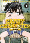 1girl artist_name bandaid bandaid_on_knee black_hair blue_eyes candy_&_cigarettes chair child copyright_name cover cover_page covering_mouth gun hair_ornament hairclip handgun indoors inoue_tomonori looking_at_viewer m1911 official_art pistol side_ponytail sitting solo spread_legs suppressor suzukaze_miharu weapon window
