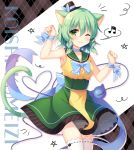 1girl ;) animal_ears arm_up bangs bare_shoulders beamed_quavers black_hat blue_neckwear blush bow bowtie braid cat_ears cat_girl cat_tail character_name closed_mouth collarbone commentary_request eyebrows_visible_through_hair green_eyes green_hair green_sailor_collar green_skirt hair_between_eyes hand_up hat kemonomimi_mode komeiji_koishi mini_hat musical_note one_eye_closed paw_pose polka_dot polka_dot_neckwear sailor_collar school_uniform serafuku shikitani_asuka shirt skirt sleeveless sleeveless_shirt smile solo spoken_musical_note star tail thighhighs touhou twin_braids white_legwear yellow_shirt