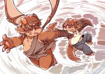 blush brown_fur brown_hair brown_skin clothing flying fur hair half_naked hand_holding horn imp open_mouth overweight red_eyes simple_background slightly_chubby surprise wings wolfsoul young