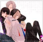 3boys black_hair blonde_hair brown_eyes cellphone eyes_closed green_eyes hood hug jacket jewelry katsuki_yuuri kumakazo19840616 male_focus multiple_boys phone ring silver_hair sitting smartphone smile track_jacket twitter_username viktor_nikiforov yuri!!!_on_ice yuri_plisetsky
