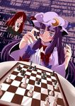 2girls bat_wings be_(o-hoho) bespectacled blush board_game book bow bowtie chess chibi closed_eyes dress eyes_closed female flying glasses hair_bow hair_ribbon hat head_wings highres koakuma long_hair multiple_girls patchouli_knowledge purple_eyes purple_hair red_hair redhead ribbon sweat the_embodiment_of_scarlet_devil touhou violet_eyes wings