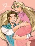 1boy 1girl :o absurdly_long_hair ano_(sbee) artist_name blonde_hair carrying couple disney dress eyebrows_visible_through_hair eyelashes flynn_rider green_eyes heart hetero long_hair long_sleeves looking_at_another looking_away open_mouth pink_background pink_dress rapunzel_(disney) shirt simple_background very_long_hair waistcoat white_shirt