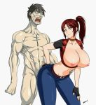 1boy 1girl blue_eyes breasts capcom claire_redfield devil-v huge_breasts resident_evil resident_evil_2 resident_evil_code_veronica zombie