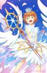 1girl artist_name blue_background card_captor_sakura cherry_blossoms commentary crown dress feet_out_of_frame from_below gloves green_eyes happy kinomoto_sakura looking_at_viewer looking_down magical_girl open_mouth orange_hair pokey smile solo staff standing watermark white_dress white_gloves