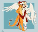 angel_dragon anthro blue_eyes cerezo christmas claws dragon duo erkhan feathered_wings feathers green_eyes hat holidays looking_at_viewer male male/male nude orange_body santa_hat scalie siegfried slit_pupils smile white_body wings