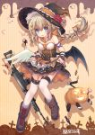 1girl apron assault_rifle bare_shoulders black_hat black_shirt black_skirt black_wings boots bow braid breasts brown_bow brown_footwear candy candy_wrapper commentary_request crescent crescent_hair_ornament feathered_wings flower fn_fnc fn_fnc_(girls_frontline) food girls_frontline gun hair_ornament halloween hat hat_flower highres jack-o'-lantern jiang-ge light_brown_hair lollipop long_hair low_ponytail medium_breasts mismatched_footwear mismatched_wings official_art pleated_skirt ponytail red_flower rifle shirt skirt skirt_basket solo star star_hair_ornament strapless striped swirl_lollipop thighhighs vertical-striped_background vertical_stripes very_long_hair weapon white_apron white_legwear white_wings wings witch_hat wrist_cuffs