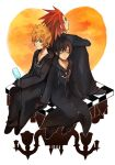 1girl 2boys axel_(kingdom_hearts) black_coat black_coat_(kingdom_hearts) black_gloves black_hair blonde_hair blue_eyes cloak eyes_closed facial_mark gloves kingdom_hearts kingdom_hearts_358/2_days kingdom_hearts_ii medium_hair multiple_boys organization_xiii roxas short_hair spiked_hair xion_(kingdom_hearts)