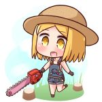 1girl :d bangs black_footwear black_gloves blonde_hair blue_sky blush brown_hat chainsaw chibi cloud collarbone commentary_request day eyebrows_visible_through_hair fate/grand_order fate_(series) gloves hana_kazari hat holding naked_overalls open_mouth outdoors overall_shorts overalls parted_bangs paul_bunyan_(fate/grand_order) sky smile solo standing standing_on_one_leg tree_stump white_background yellow_eyes