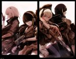 4girls anti-rain_(girls_frontline) ar-15 assault_rifle dyolf eyepatch girls_frontline gloves green_eyes gun gun_case headphones long_hair m16 m16a1_(girls_frontline) m4_carbine m4_sopmod_ii_(girls_frontline) m4a1_(girls_frontline) multicolored_hair multiple_girls red_eyes rifle sepia smile st_ar-15_(girls_frontline) streaked_hair weapon