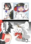 +++ 3girls ^_^ barefoot black_hair bowl bowl_hat comic commentary_request dress eyes_closed hair_tubes hakurei_reimu hat highres horns japanese_clothes kijin_seija kimono long_sleeves looking_at_another minigirl motion_lines multicolored_hair multiple_girls object_on_head open_mouth purple_hair red_eyes red_hair short_hair short_sleeves smile streaked_hair sukuna_shinmyoumaru teruterubouzu touhou translation_request trembling unachika white_hair wide_sleeves