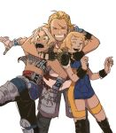 1girl 2boys ^_^ armor arms_around_neck basch_fon_ronsenburg blonde_hair blue_eyes eyes_closed facial_hair final_fantasy final_fantasy_xii grin hjay hug hug_from_behind low_twintails multiple_boys penelo scar scar_across_eye smile stubble twintails unitard vaan