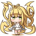 1girl absurdly_long_hair bangs bare_shoulders black_footwear blonde_hair blush chibi closed_mouth collarbone commentary_request dress eyebrows_visible_through_hair full_body granblue_fantasy green_eyes hair_between_eyes hana_kazari long_hair looking_at_viewer melissabelle prehensile_hair shoes sleeveless sleeveless_dress solo standing translation_request very_long_hair white_dress