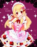 1girl aikatsu! bangs birthday blonde_hair dated dress english food fruit gloves happy_birthday highres hoshimiya_ichigo long_hair looking_at_viewer mikorin open_mouth pink_dress pink_ribbon red_eyes red_ribbon ribbon solo sparkle_background strawberry