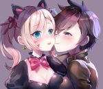 2girls alternate_costume alternate_eye_color animal_ears black_cat_d.va black_dress blonde_hair blue_eyes blush bomber_jacket bow bowtie breast_press breasts brown_eyes brown_jacket cat_ears cheek_kiss cleavage collarbone d.va_(overwatch) dress earrings enepuni eyebrows_visible_through_hair facepaint facial_mark goggles grey_background hair_ribbon heart heart_earrings jacket jewelry kiss leather leather_jacket lolita_fashion looking_at_another medium_breasts multiple_girls one_eye_closed open_mouth overwatch pink_bow pink_ribbon portrait ribbon short_hair simple_background smile spiked_hair surprise_kiss surprised sweatdrop symmetrical_docking tracer_(overwatch) twintails twitter_username yuri