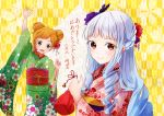 2girls :d aikatsu! aikatsu_stars! arm_up bag blush braid brown_eyes double_bun drill_hair floral_print flower green_eyes hair_flower hair_ornament highres japanese_clothes kimono light_blue_hair long_hair looking_at_viewer multiple_girls nikaidou_yuzu oka_paya open_mouth orange_hair shirogane_lilly short_hair sidelocks smile standing very_long_hair yellow_background