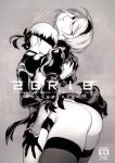 1boy 1girl ass back_cutout blindfold breasts choker cover cover_page doujin_cover dress fishine greyscale hairband height_difference juliet_sleeves leotard_under_clothes long_sleeves monochrome nier_(series) nier_automata puffy_sleeves short_hair thick_thighs thighhighs thighs yorha_no._2_type_b yorha_no._9_type_s