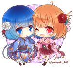 2girls :o ;d ahoge bangs black_gloves blue_eyes blue_hair blue_kimono blush boots bow breasts brown_footwear character_request chibi commentary_request eyebrows_visible_through_hair flower frilled_skirt frilled_sleeves frills gloves hair_between_eyes hair_flower hair_ornament japanese_clothes kimono light_brown_hair long_sleeves looking_at_viewer medium_breasts multicolored_hair multiple_girls obi one_eye_closed open_mouth parted_lips pink_bow pink_kimono pink_ribbon pleated_skirt purple_skirt red_eyes red_flower ribbon saitou_chiwa sash shironeko_project short_kimono skirt smile standing standing_on_one_leg striped striped_bow striped_ribbon twitter_username two-tone_hair upper_teeth white_flower wide_sleeves yukiyuki_441