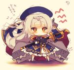 1girl :t azur_lane bangs beret blue_dress blue_hat blunt_bangs blush cannon chibi closed_mouth dress eyebrows_visible_through_hair full_body hat holding holding_sheath long_hair long_sleeves muuran orange_eyes pout puffy_long_sleeves puffy_sleeves saber_(weapon) sheath sheathed signature silver_hair solo standing sword tears translation_request trembling very_long_hair weapon z46_(azur_lane)