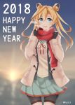1girl 2018 abukuma_(kantai_collection) bike_shorts black_gloves black_jacket blonde_hair blue_eyes blurry breath cowboy_shot depth_of_field double_bun gloves grey_sailor_collar grey_skirt happy_new_year highres jacket ka_tsumi kantai_collection long_hair looking_at_viewer neck_ribbon new_year open_clothes partly_fingerless_gloves pink_jacket red_ribbon red_scarf remodel_(kantai_collection) ribbon sailor_collar scarf shorts_under_skirt skirt solo standing sunrise twitter_username