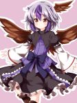 1girl bow feathered_wings frilled_skirt frills head_wings highres horns looking_at_viewer multicolored_hair outline pink_background puffy_sleeves purple_hair red_eyes ruu_(tksymkw) short_hair silver_hair simple_background skirt smile solo tokiko_(touhou) touhou white_outline wide_sleeves wings