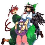 3girls ^_^ animal_ears bangs bird_wings black_wings blouse blush bow braid breast_rest breasts breasts_on_head brown_hair cape cat_ears cat_tail cowboy_shot dress extra_ears eyebrows_visible_through_hair eyes_closed fangs green_bow green_dress green_skirt hair_between_eyes hair_bow hairband half-closed_eyes hand_on_another's_arm hands_up happy heart height_difference huge_breasts kaenbyou_rin komeiji_satori koyubi_(littlefinger1988) large_breasts long_dress long_hair long_skirt long_sleeves multiple_girls multiple_tails nekomata open_mouth parted_lips pink_skirt puffy_short_sleeves puffy_sleeves purple_blouse purple_eyes purple_hair red_eyes red_hair reiuji_utsuho shirt short_hair short_sleeves simple_background skirt smile standing starry_sky_print tail third_eye touhou twin_braids white_background white_cape white_shirt wide_sleeves wings