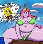 ! adventure_time belly big_belly big_breasts bikini blood breasts cartoon_network clothed clothing digital_media_(artwork) dizzy_demon english_text female hair humanoid humor lemongrab male navel nosebleed not_furry open_mouth overweight overweight_female partially_clothed pink_skin pinup plump_labia pose presenting presenting_pussy princess_bubblegum pussy smile spreading swimsuit text