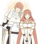 1girl armor aym_(ash3ash3ash) cape celica_(fire_emblem) dress earrings fingerless_gloves fire_emblem fire_emblem_echoes:_mou_hitori_no_eiyuuou gloves jewelry long_hair looking_at_viewer open_mouth red_eyes red_hair smile tiara