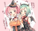 2girls :d aqua_hair bang_dream! bangs bat_wings black_choker black_gloves blush bow braid candy choker corset dress fang fingerless_gloves food frilled_gloves frilled_sleeves frills gloves green_eyes hair_ribbon halloween halloween_costume handband hat hat_bow hikawa_hina holding_lollipop horns lollipop looking_at_viewer maruyama_aya multiple_girls open_mouth pink_eyes pink_hair ribbon short_hair short_sleeves smile sweatdrop translation_request twin_braids twintails v-shaped_eyebrows wings witch_hat yae_(eky_567)