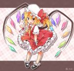 1girl bending_forward black_footwear blonde_hair bobby_socks checkered checkered_background fang flandre_scarlet frilled_skirt frills full_body hat hat_ribbon heart index_finger_raised looking_at_viewer mary_janes mob_cap open_mouth pigeon-toed pink_background puffy_short_sleeves puffy_sleeves red_eyes red_skirt red_vest ribbon shoes short_hair short_sleeves side_ponytail skirt skirt_hold socks solo standing tobi_(nekomata_homara) touhou twitter_username vest wings wrist_cuffs wrist_ribbon yellow_ribbon