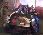 3girls :d bangle blanket blouse blue_bow blue_eyes blue_hair blue_skirt blue_sky bow bowl box bracelet cheek_poking cloud commentary_request day debt food from_above from_side fruit grey_hoodie hair_between_eyes hair_bow hat highres hinanawi_tenshi holding holding_food indoors jewelry leaf looking_at_another lying minigirl miracle_mallet multiple_girls needle open_mouth orange_(fruit) peach poking profile puffy_short_sleeves puffy_sleeves purple_hair red_eyes red_neckwear shope short_hair short_sleeves sidelocks sitting skirt sky smile stuffed_animal stuffed_cat stuffed_toy sukuna_shinmyoumaru table touhou white_blouse yarn yarn_ball yorigami_shion