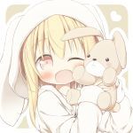 1girl ;d animal_ears animal_hood ayanepuna bangs battle_girl_high_school blonde_hair blush brown_eyes bunny_ears bunny_hood commentary_request eyebrows_visible_through_hair hair_between_eyes head_tilt heart highres holding holding_stuffed_animal hood hood_up hoodie long_hair long_sleeves looking_at_viewer one_eye_closed open_clothes open_hoodie open_mouth outline sidelocks sleeves_past_wrists smile solo stuffed_animal stuffed_bunny stuffed_toy watagi_michelle white_hoodie white_outline