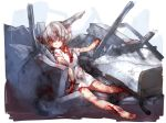 1girl barefoot bed blood bloody_clothes bruise commentary corpse crushed death dress empty_eyes eyepatch full_body highres impaled injury kushizashi-chan medical_eyepatch mikan_(ama_no_hakoniwa) original rubble short_hair short_sleeves solo white_dress white_hair