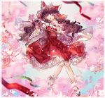 1girl :o ascot bow branch brown_hair cherry_blossoms commentary detached_sleeves floral_print frilled_bow frilled_hair_tubes frilled_skirt frills full_body hair_bow hair_tubes hakurei_reimu holding knees_together_feet_apart long_hair looking_at_viewer midriff_peek pink_eyes red_bow red_shirt red_skirt ribbon-trimmed_sleeves ribbon_trim sandals shionty shirt sidelocks skirt solo tabi touhou wide_sleeves
