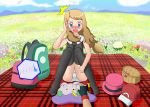 1girl artist_request backpack bag basket black_gloves black_shirt blonde_hair blue_eyes blue_sky blush breasts cameltoe cloud day disembodied_limb embarrassed female fingerless_gloves flower flower_field full_body gen_6_pokemon gloves goomy grass hand_up hat hat_removed highres knees_together_feet_apart long_hair looking_down mountain open_mouth outdoors panties pantyshot pantyshot_(sitting) picnic pink_hat pokemon pokemon_(creature) pokemon_xy red_hat red_skirt serena_(pokemon) shirt sitting skirt sky sleeveless sleeveless_shirt small_breasts solo_focus surprised tears teeth tied_hair underwear upskirt white_panties