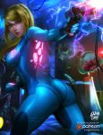 ass blonde_hair blue_bodysuit bodysuit electricity energy glowing gun handgun high_ponytail highres logan_cure long_hair looking_at_viewer metroid metroid_(creature) mole mole_under_mouth nintendo patreon ponytail samus_aran shiny shiny_clothes skin_tight super_smash_bros. video_game weapon zero_suit