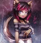 ann-jey canine clothed clothing confusion dog female lipstick long_tail makeup mammal solo stylized_hair