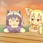 2girls :3 animal_ears black_gloves black_neckwear blonde_hair bow bowtie breast_pocket brown_eyes chin_rest colo_(frypan_soul)_(style) common_raccoon_(kemono_friends) dated evening fennec_(kemono_friends) fox_ears fur_collar fur_trim gloves grey_hair jitome kemono_friends lens_flare looking_at_another multicolored_hair multiple_girls one_eye_closed outdoors pink_sweater pocket raccoon_ears rinya_(makaroni-rinya) short_sleeve_sweater sky sparkle sweater tears twitter_username upper_body white_gloves yellow_neckwear