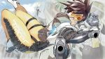 2girls animal bangs blue_sky bodysuit bomber_jacket brown_eyes brown_gloves brown_hair brown_jacket cloud day dual_wielding eyebrows gloves goggles gorilla gun hanabusa_(xztr3448) harness holding holding_gun holding_weapon jacket leather leather_jacket mercy_(overwatch) multiple_girls orange_bodysuit overwatch parted_lips short_hair sky smile solo_focus spiked_hair thigh_strap tracer_(overwatch) weapon white_footwear winston_(overwatch) x_arms