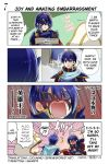 1girl armor blue_eyes blue_hair blush cape falchion_(fire_emblem) fingerless_gloves fire_emblem fire_emblem:_kakusei fire_emblem:_monshou_no_nazo fire_emblem_heroes gloves highres hood juria0801 long_hair lucina marth marth_(fire_emblem:_kakusei) mask official_art open_mouth reverse_trap short_hair smile summoner_(fire_emblem_heroes) tiara translated weapon